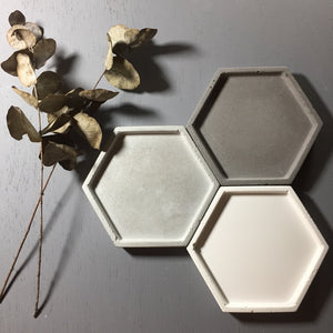 "Concrete hexagon tray / accessory holder (small) - ""grey"""