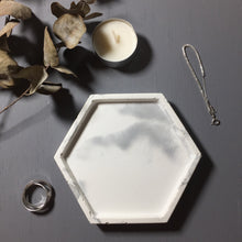 Marble patterned (white) - concrete tray / accessory holder in Hexagon shape