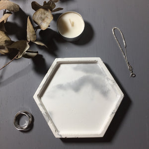 "Concrete hexagon tray / accessory holder (small) - ""marble white"""