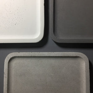 "Concrete square tray / accessory holder (large) - ""grey"""