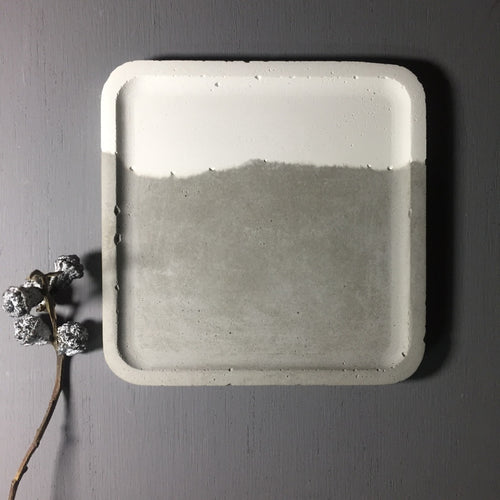 Couple - Concrete Large Square  tray / accessory holder
