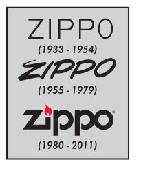 Zippo Historic Logos during 1933-1954, 1954-1979 and 1980-2011