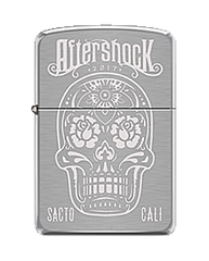 Aftershock Skull Design Chrome Lighter