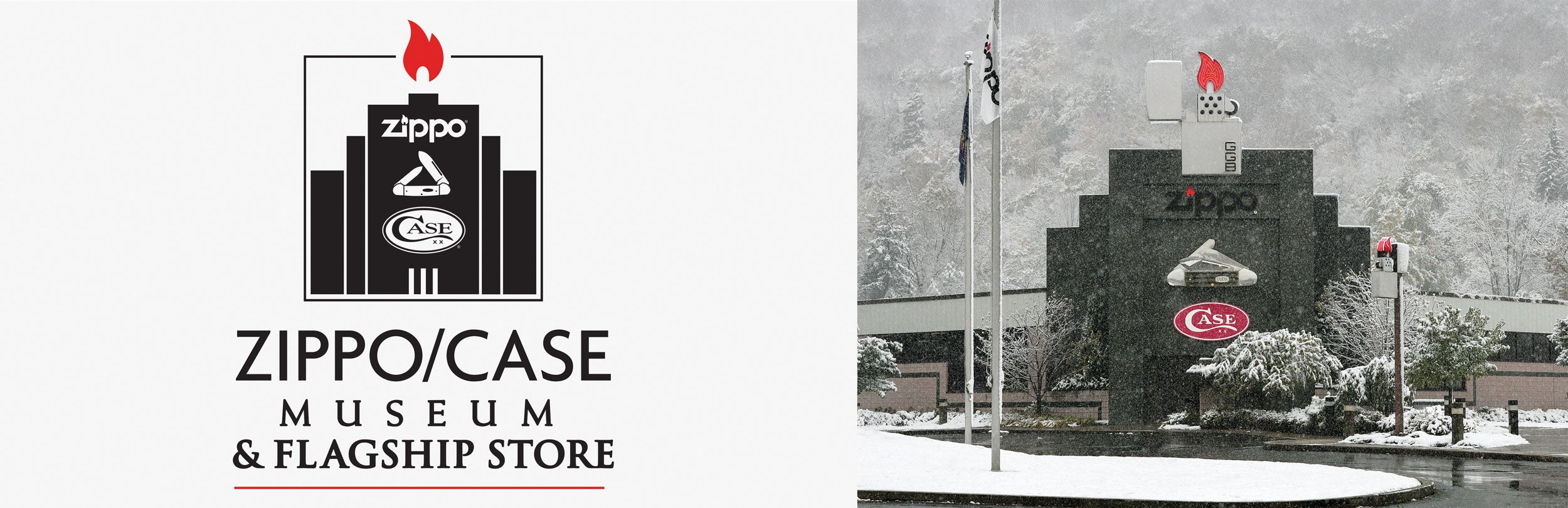 ZippoCase Museum logo and winter photo
