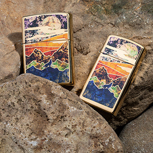 Zippo High Polish Brass Howling Wolf Lighter
