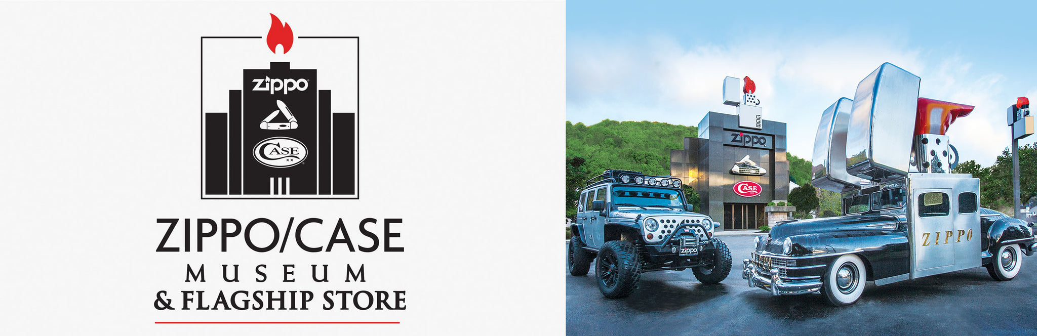 Zippo/Case Museum logo with image of the Zippo Jeep and Zippo Car.