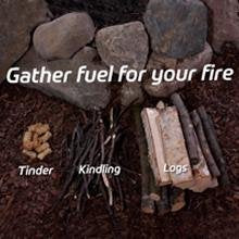 Gather fuel for your fire - Tinder, Kindling, Logs