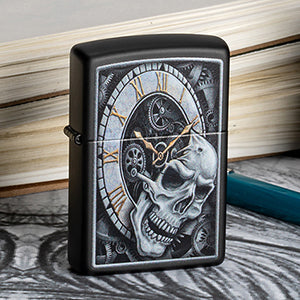 Skull and Clock Hand Drawn Zippo Lighter