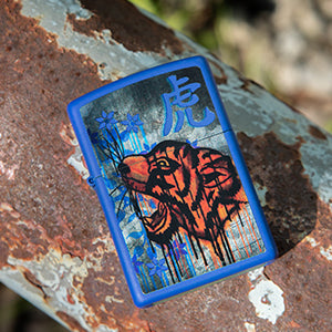 Royal Blue Colorful Tiger Design