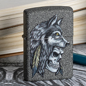 Skull with a Wolf headdress Zippo Lighter