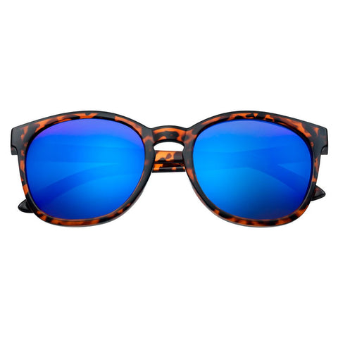 Blue Flash Full Frame Sunglasses with patterned rim