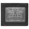 Front of black Leather Wallet With Fandango Metal Plate Design - ID Window