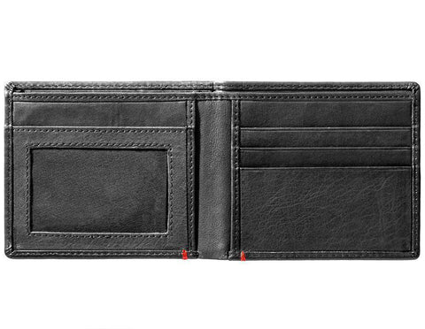 Black Leather Wallet With Spade Metal Plate Design - ID Window inside empty