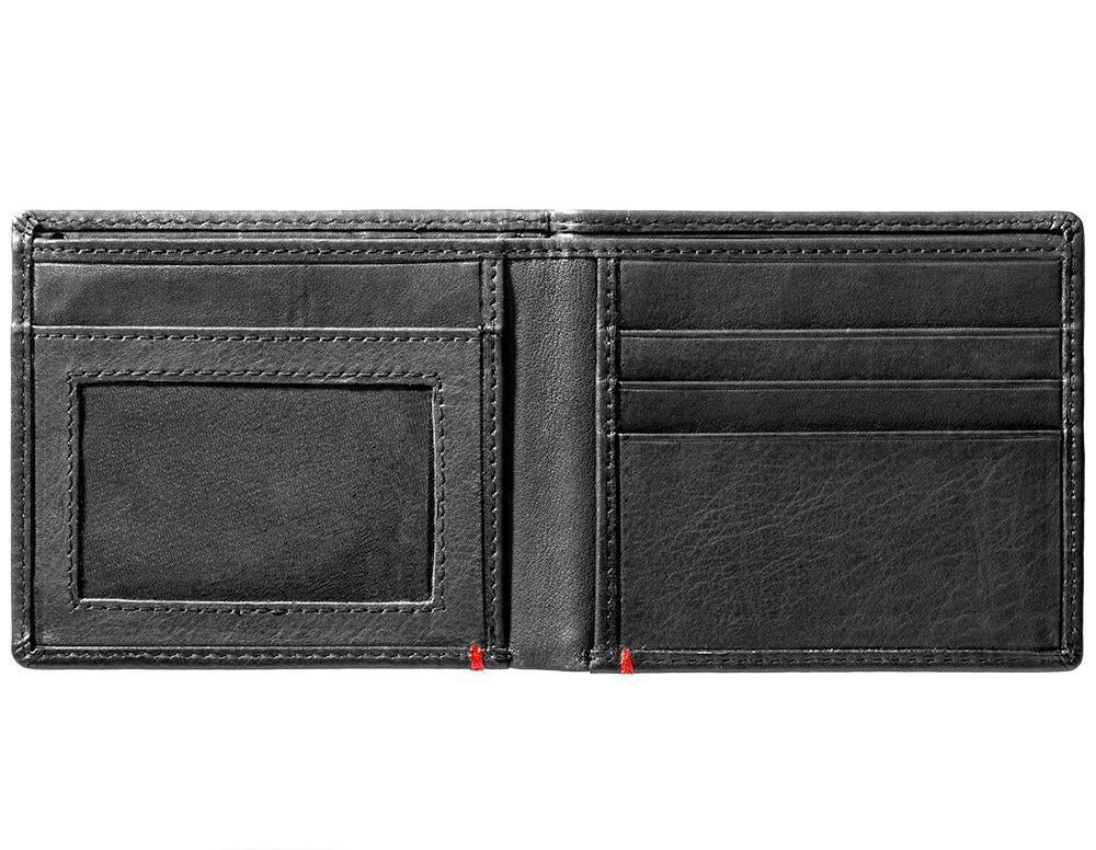Black Leather Wallet With Bass Metal Plate Design - ID Window inside empty