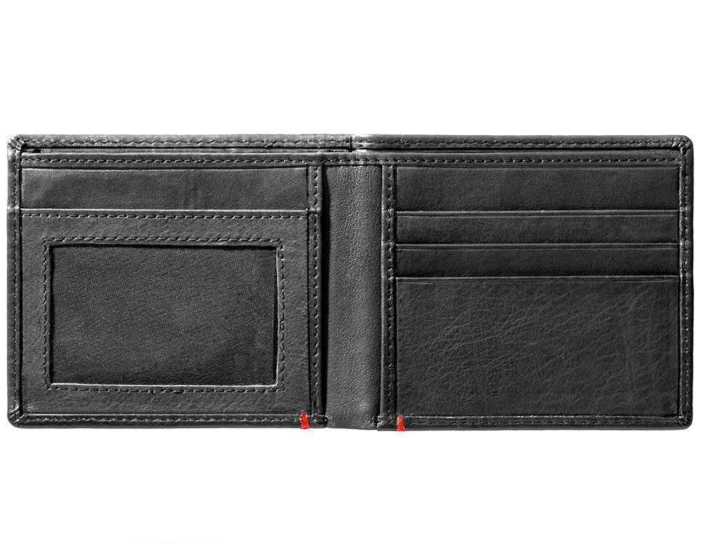 Black Leather Wallet With Zippo Flame Metal Plate Design - ID Window inside empty