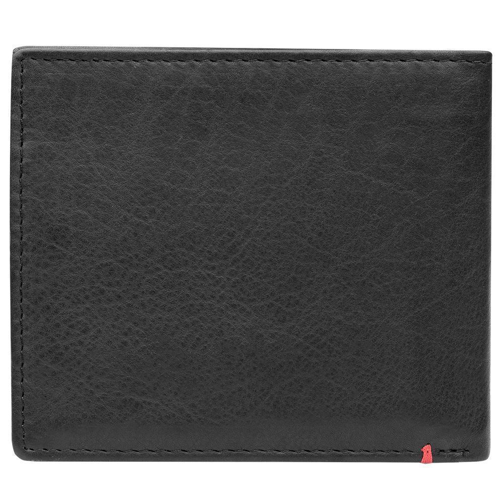 Back of black leather Wallet With Cross Wings Metal Plate - ID Window
