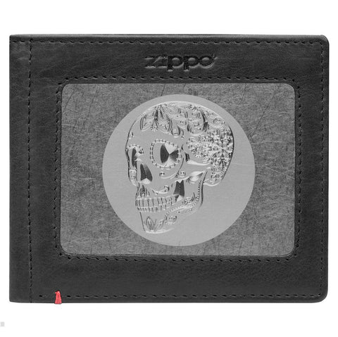 Front of black Leather Wallet With Skull Metal Plate - ID Window