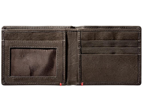 Mocha Leather Wallet With Spade Metal Plate - ID Window inside empty
