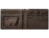 Mocha Leather Wallet With Anchor Metal Plate - ID Window inside empty