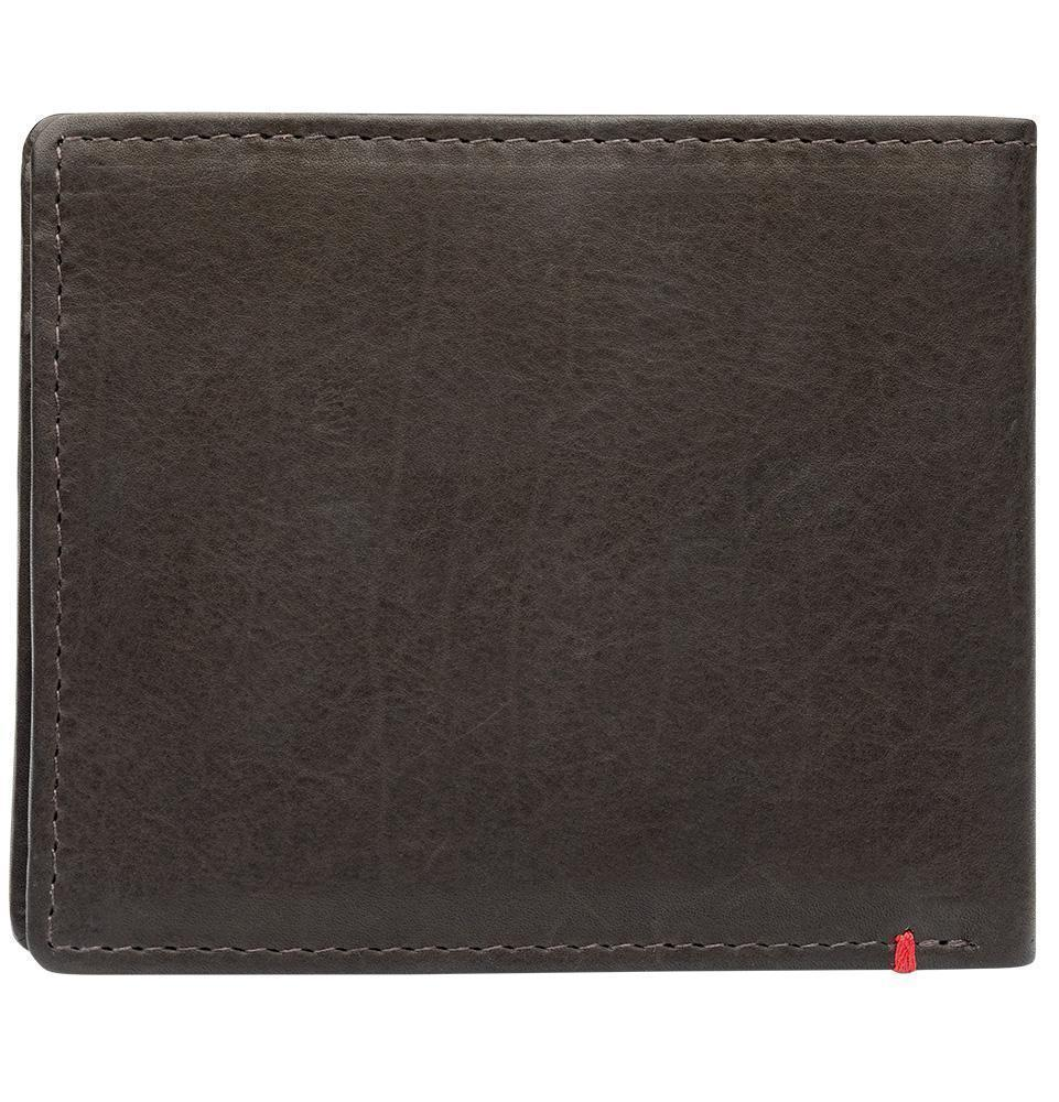 Back of mocha leather Wallet With Spade Metal Plate - ID Window