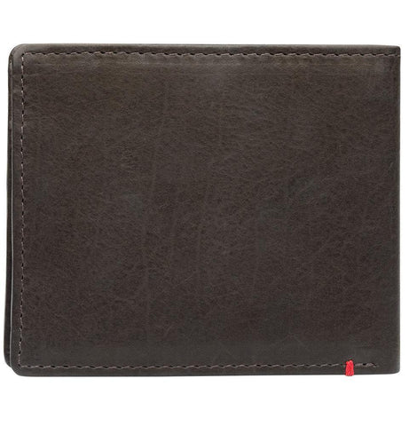 Back of mocha leather Wallet With Anchor Metal Plate - ID Window