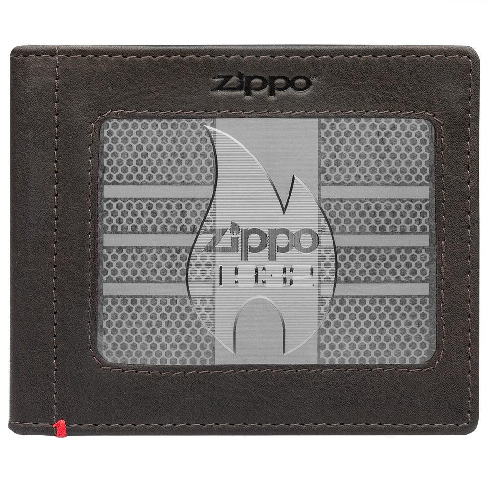 Front of mocha Leather Wallet With Zippo 1932 Metal Plate - ID Window