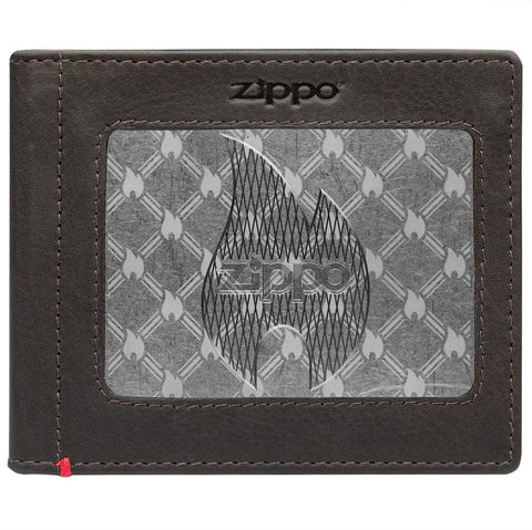 Front of mocha Leather Wallet With Zippo Flame Metal Plate - ID Window