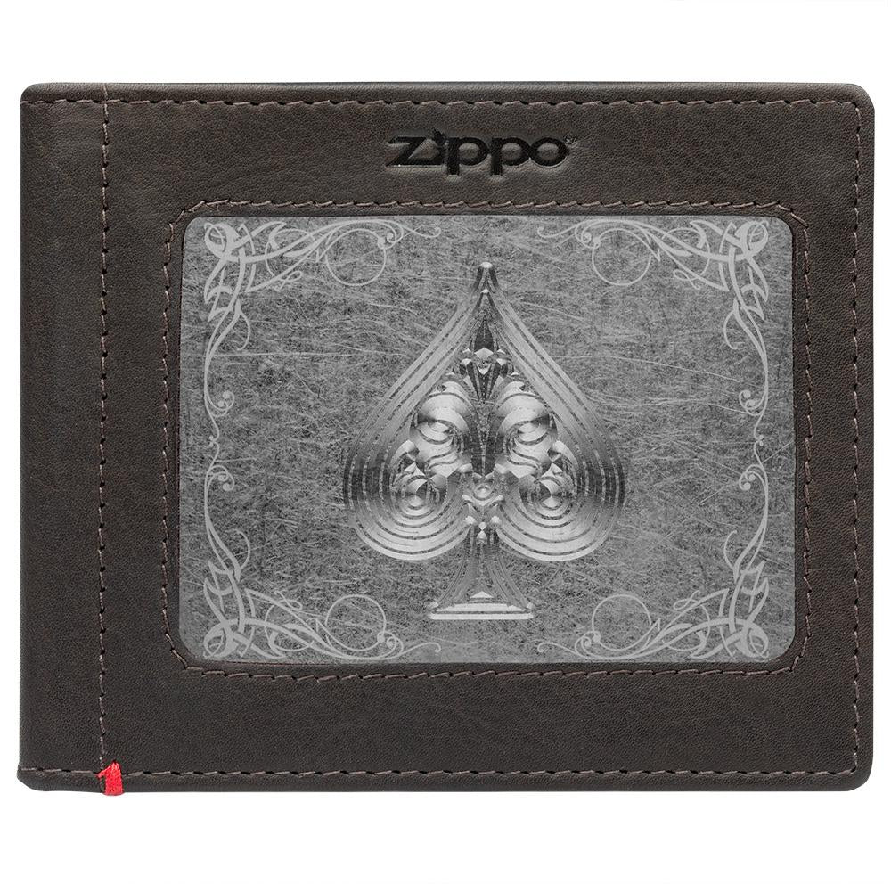 Front of mocha Leather Wallet With Spade Metal Plate - ID Window