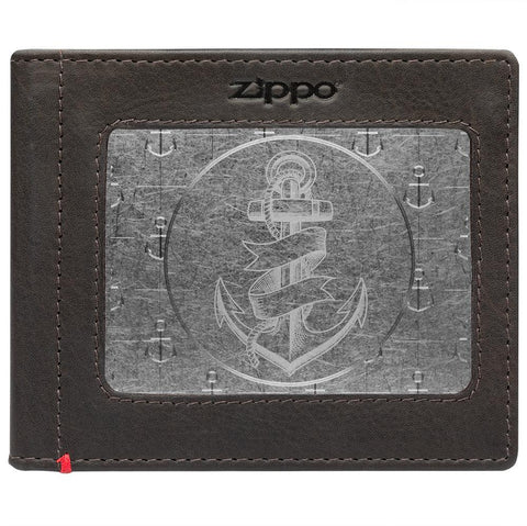 Front of mocha Leather Wallet With Anchor Metal Plate - ID Window