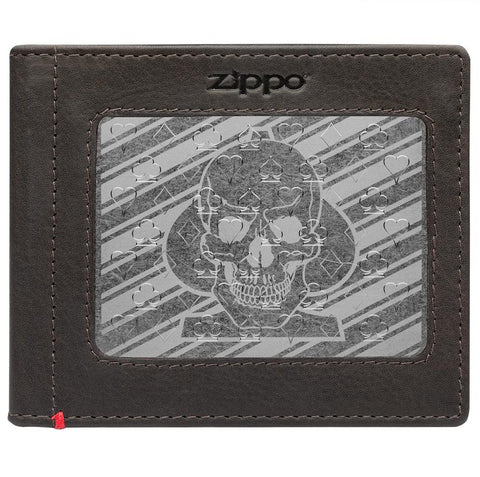 Front of mocha Leather Wallet With Spade Skull Metal Plate - ID Window
