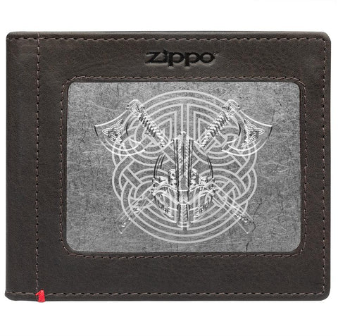 Front of mocha Leather Wallet With Viking Metal Plate - ID Window