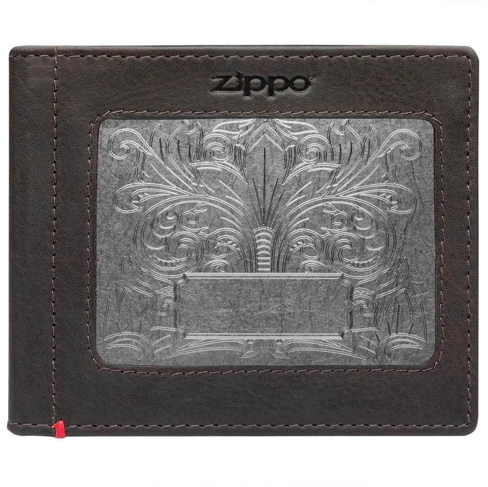 Front of mocha Leather Wallet With Fandango Metal Plate - ID Window