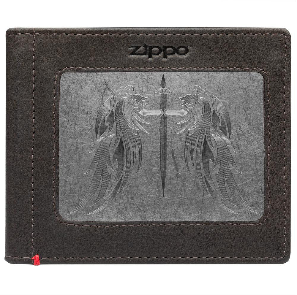 Front of mocha Leather Wallet With Cross Wings Metal Plate - ID Window