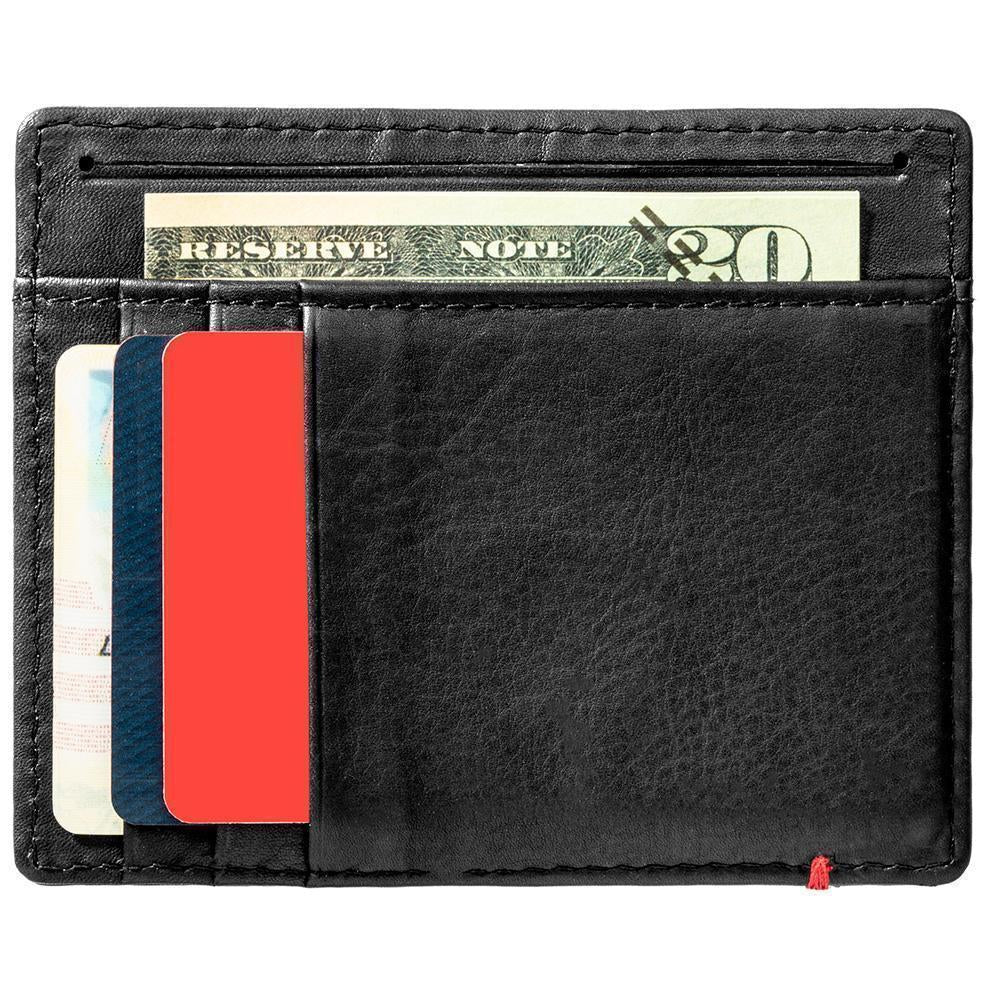 Black Leather Wallet With Spade Metal Plate design minimalist back full