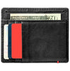 Black Leather Wallet With Zippo Flame Metal Plate design minimalist back full