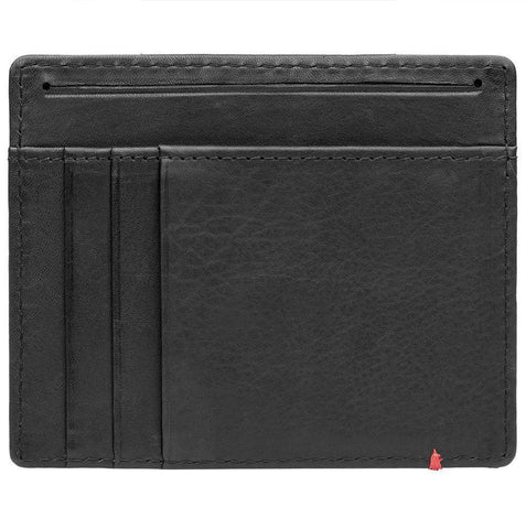 Black Leather Wallet With Zippo 1932 Metal Plate design minimalist back empty