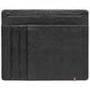 Black Leather Wallet With Spade Metal Plate design minimalist back empty