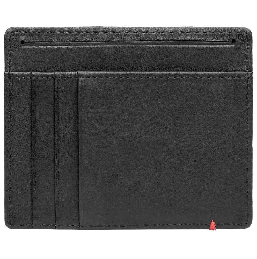 Black Leather Wallet With Bass Metal Plate design minimalist back empty