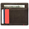 Mocha Leather Wallet With Spade Metal Plate minimalist back full