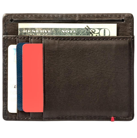 Mocha Leather Wallet With Bass Metal Plate minimalist back full
