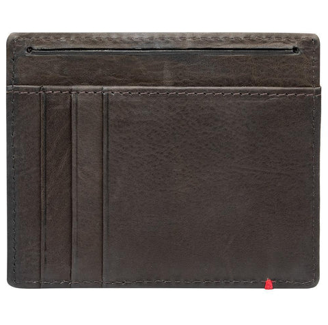 Mocha Leather Wallet With Anchor Metal Plate minimalist back empty