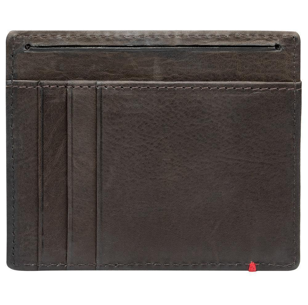 Mocha Leather Wallet With Spade Metal Plate minimalist back empty
