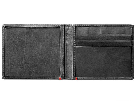 Black Leather Wallet With Viking Metal Plate design cash strap inside empty