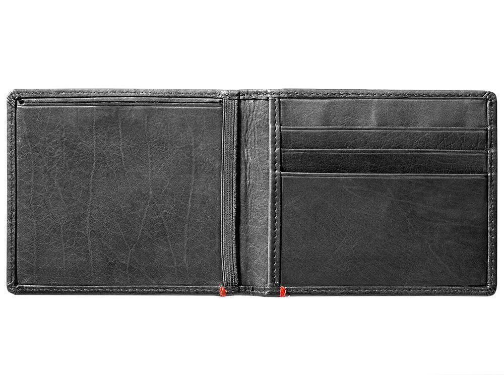 Black Leather Wallet With Zippo Flame  Metal Plate design cash strap inside empty