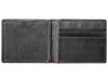 Black Leather Wallet With Anchor Metal Plate design cash strap inside empty
