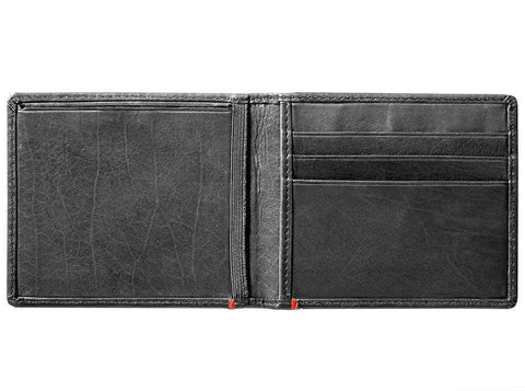 Black Leather Wallet With Spade Metal Plate design cash strap inside empty