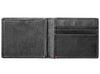 Black Leather Wallet With Bass Metal Plate design cash strap inside empty
