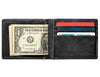 Black Leather Wallet With Spade Metal Plate design cash strap inside full
