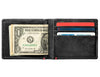 Black Leather Wallet With Bass Metal Plate design cash strap inside full