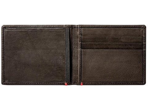 Mocha Leather Wallet With Spade Metal Plate cash strap inside empty